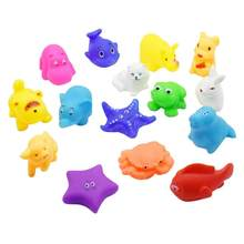 1/5/10/pcs Cute Mixed Animal Baby Bathing Toys Swimming Water Kids Float Squeeze Toy Soft Rubber Bath Squeeze Sound Squeaky Toy(China)