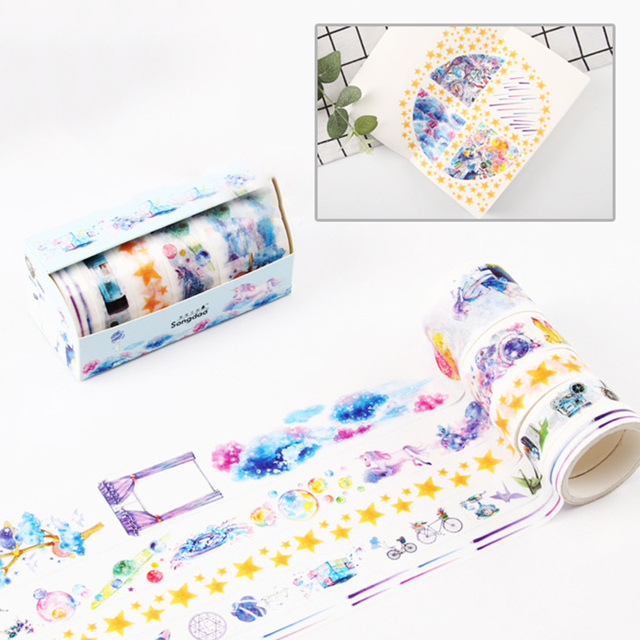 4/5/6Pcs Cute Leaves Masking Tape Kawaii Flower Washi Tape Decorative Adhesive Tape For Kid DIY Scrapbooking Diary Photos Albums 5