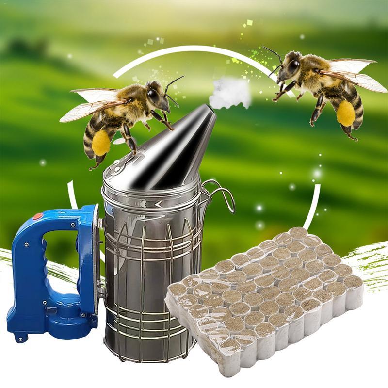 Beekeeping Set Electr Hive Smoker Stainless Steel 54pcs Bag Effeciency Wormwood Burning Pellet Beekeeping Tool Equipment 2019