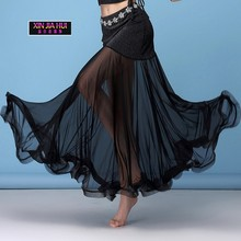 a66866d649c Belly Dance Down Dress Practice Skirt Silver Wire Split Joint Gauze Fish  Tail Long Indian Sexy