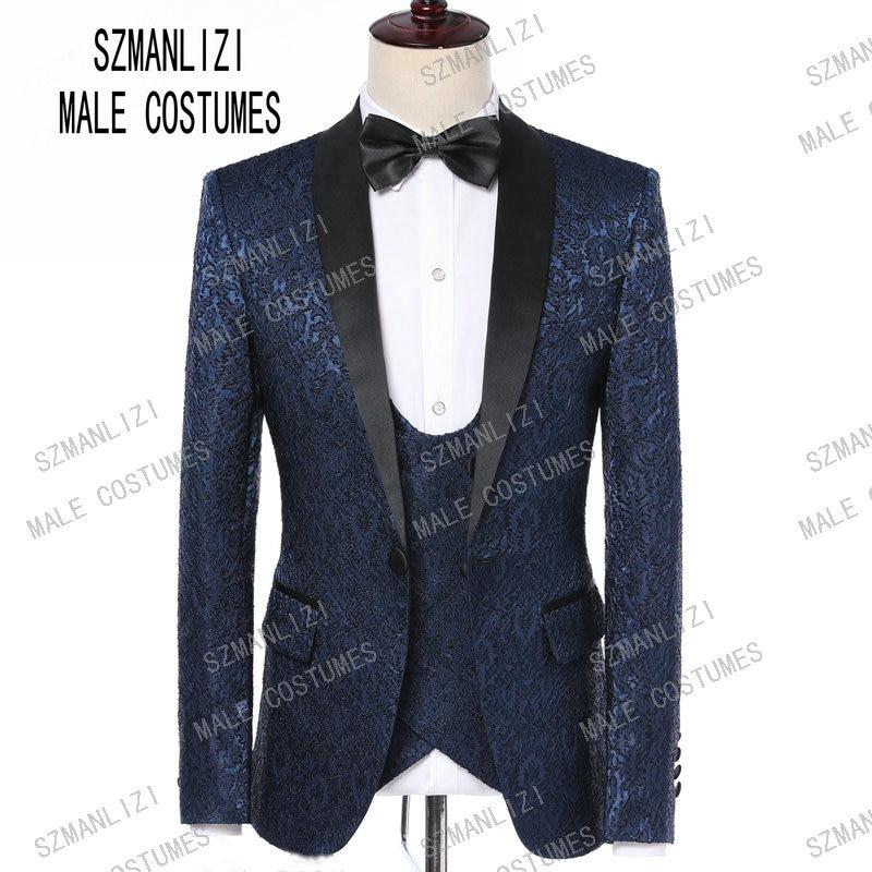 Wedding Suits For Men 2019 Slim Groomsmen Navy Blue Paisley Shawl Lapel Groom Suit Mens Tuxedo Blazer Wedding/Prom Suits 3 Piece