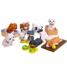 1pc Artificial Playing Dog Home Decor Miniature Fairy Garden Decoration Accessories Modern Figurine Cartoon Animal Model Statue(China)