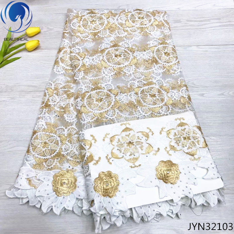 Beautifical french tulle lace fabrics with beads and stones 2019 high quality african laces fabric for wedding 5yards/lot JYN321Beautifical french tulle lace fabrics with beads and stones 2019 high quality african laces fabric for wedding 5yards/lot JYN321