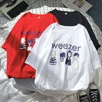 Japanese Style Cotton Men Round Neck Short Sleeve T shirt Summer Loose Couple Matching Leisure Cartoon Printed Teenager T Shirt