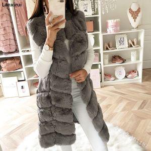 Image 3 - Warm Faux Fur Fox Vest Women Winter Casual Artifical Fur Warm Coat Super X Long Waistcoat Female Faux Furs Wholesale