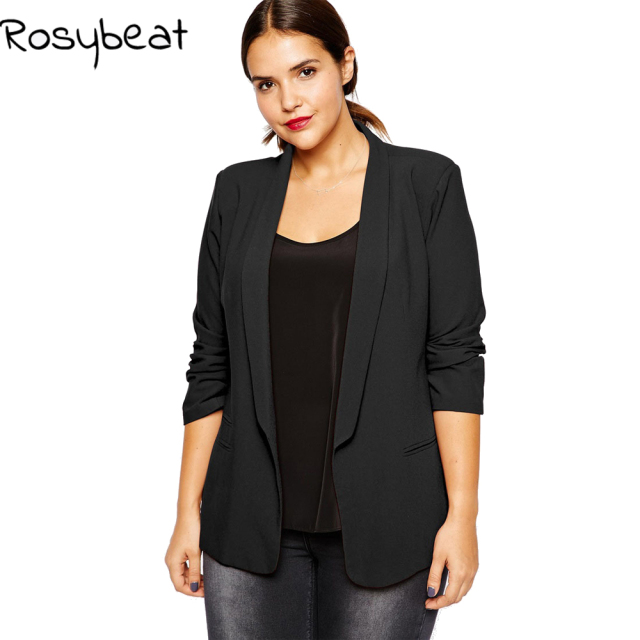 bd1bd48948221 4xl Women Blazer Plus Size Women Clothing Slim Black Blazers and Jackets  Coat Sleeve Blazer Feminino Casual Office Suits 5xl 6xl