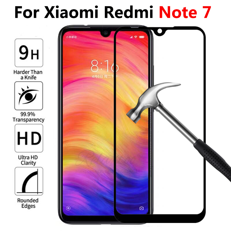 <font><b>Case</b></font> For Xiaomi <font><b>Redmi</b></font> <font><b>Note</b></font> 7 Full Cover Tempered Glasss Screen Protector On Xiomi <font><b>Redmi</b></font> Note7 Protective Film Front Glass image