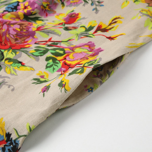 Robe fleurie, longue vintage en coton et lin 4