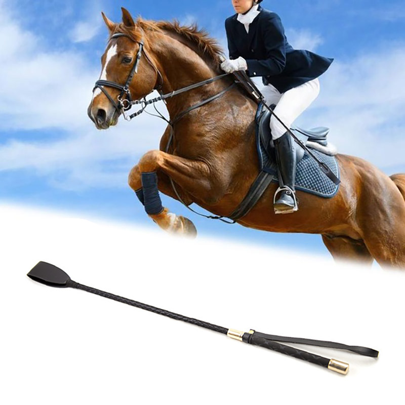 54cm Leather Horse Whip Leather Equestrian Horseback Racing Riding Role Plays Trail Stage Riding Performance Horse Training Whip(China)