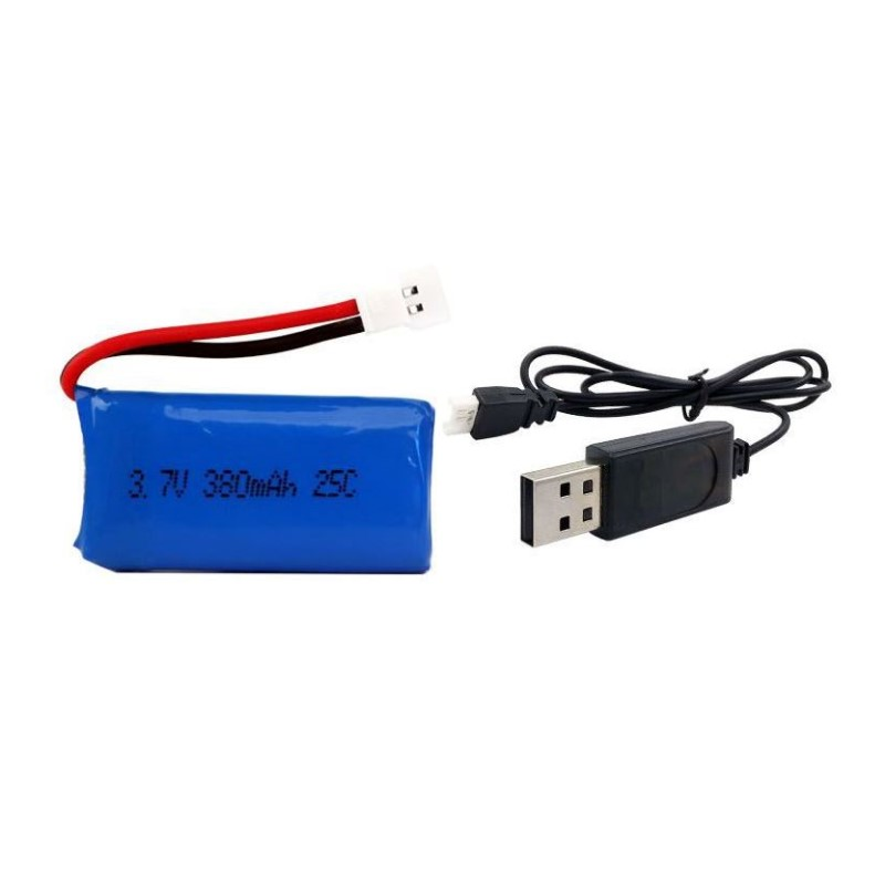1/2 PCS RC Quadcopter Spare Parts 3.7V 380mah 1S 25C Lipo Battery with USB charging cable image