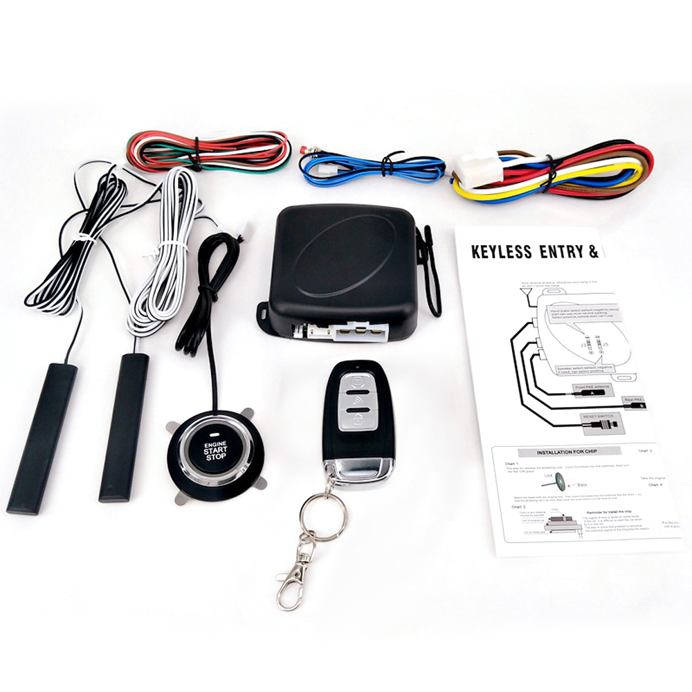 Car Switch Keyless Entry Engine Start Alarm System with One Remote Controller Push Button Remote Starter