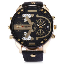 men's wristwatch mens watch quartz shiweibao brand men watches sports Large dial leather man watch Multiple Time Zone creative