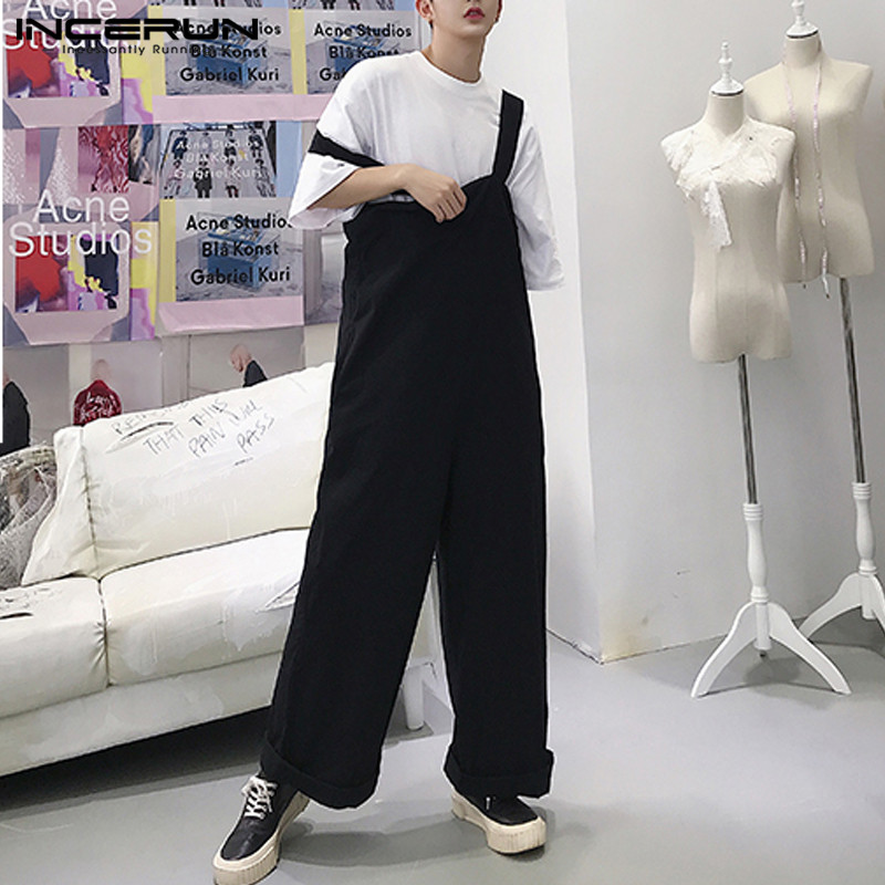 2019 Men Romper Straps Solid Color Wide Leg Jumpsuits Loose Streetwear Casual Pants Korean Style Men Suspenders Overalls INCERUN