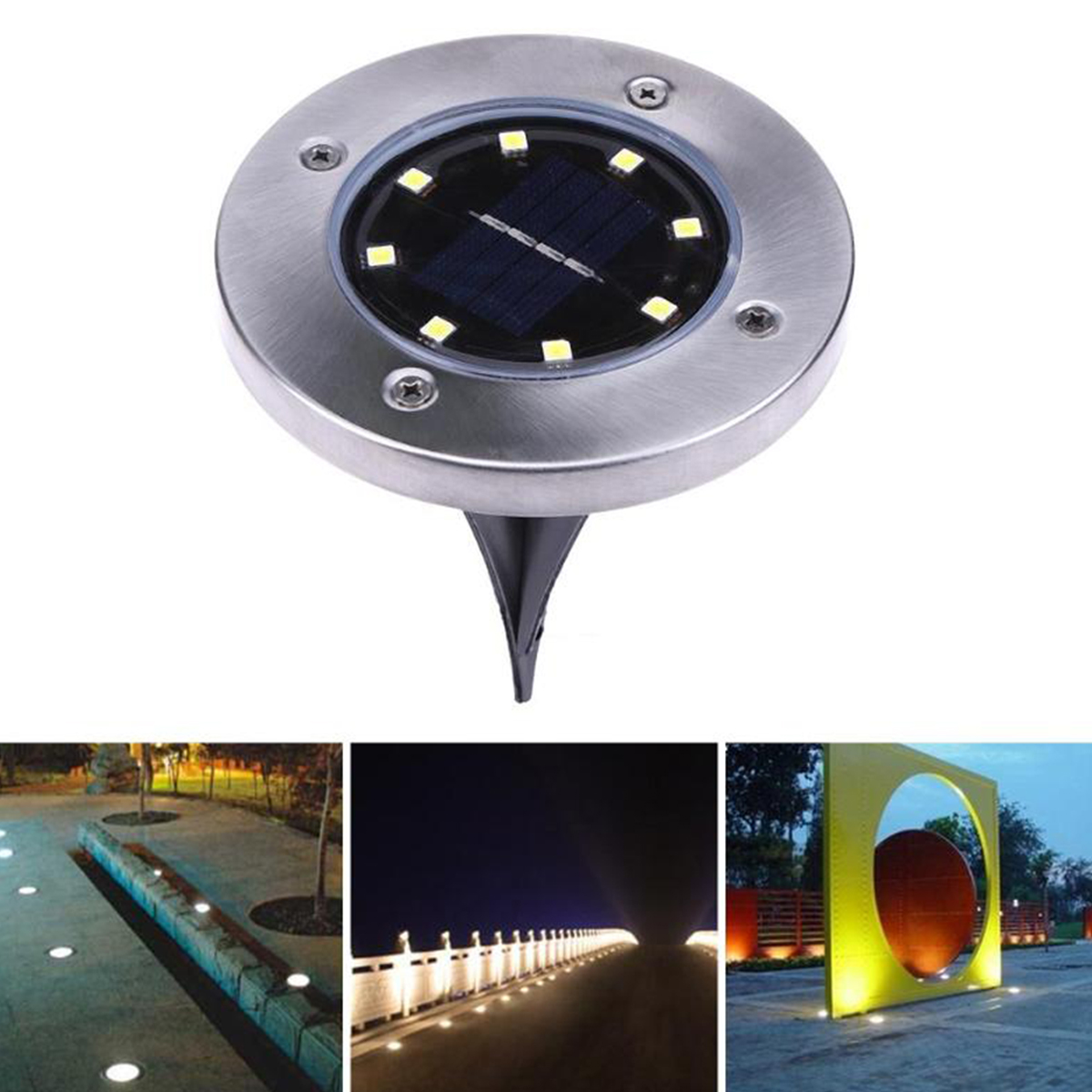 Cool/warm White 8 Led Solar Power Buried Light Ground Lamp Outdoor Path Way Garden Decking Underground Lamps Dropshipping And To Have A Long Life. Led Underground Lamps