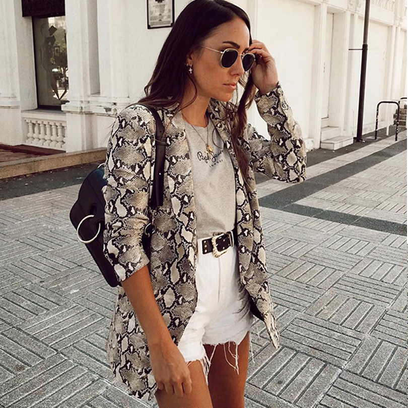 2019 Spring Women Snake Print Blazer England Style Pockets Long Sleeve Slim Vintage Blazers Jackets Female Outerwear Plus Size