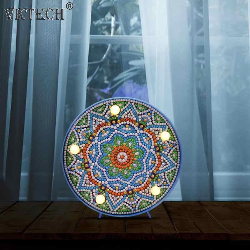 DIY המנדלה LED יהלומי ציור אור תיבת צלב תפר רקמת מנורת מלא מיוחד תרגיל LED מנורת Rhinestones עיצוב הבית
