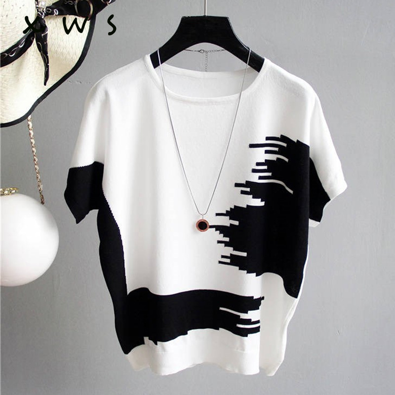 Women Sweater Pullover thin Rib Knitted Cotton Tops patchwork o Neck Essential Jumper short Sleeve Sweaters summer 2019(China)