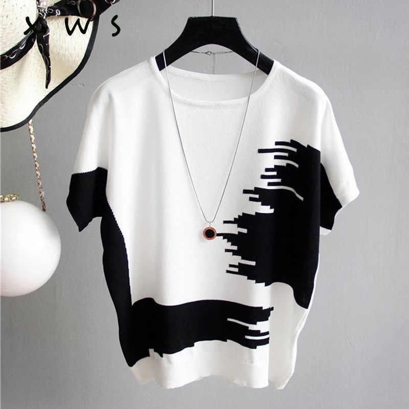 Women Sweater Pullover thin Rib Knitted Cotton Tops patchwork o Neck Essential Jumper short Sleeve Sweaters summer 2019