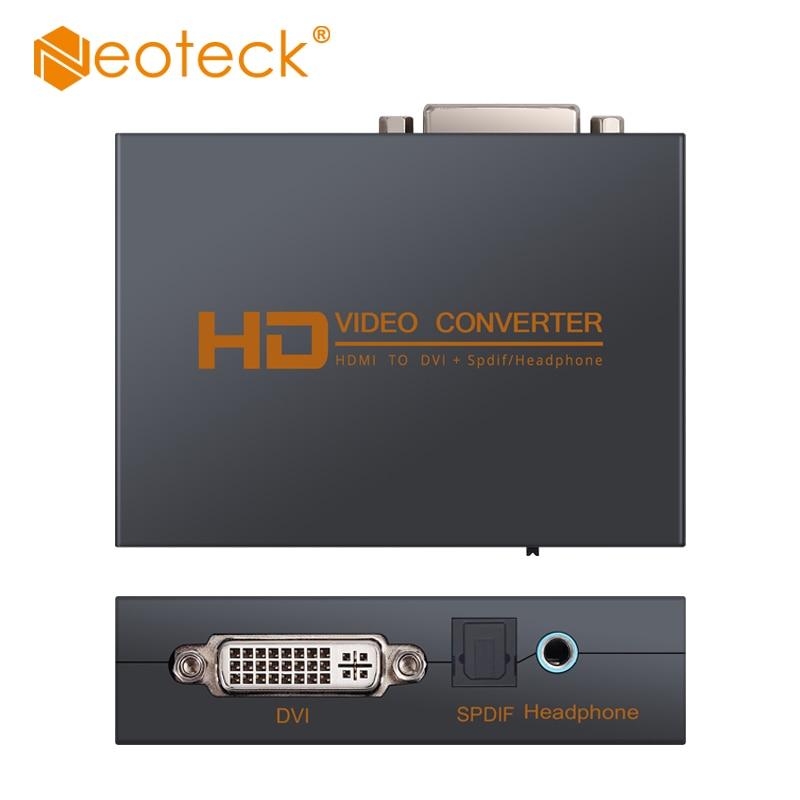 Neoteck HDMI-совместимый с DVI Видео Аудио конвертер 2,0 5.1CH Opitcal 3,5 мм Jack аудио выход 1080P цифро-аналоговый преобразователь