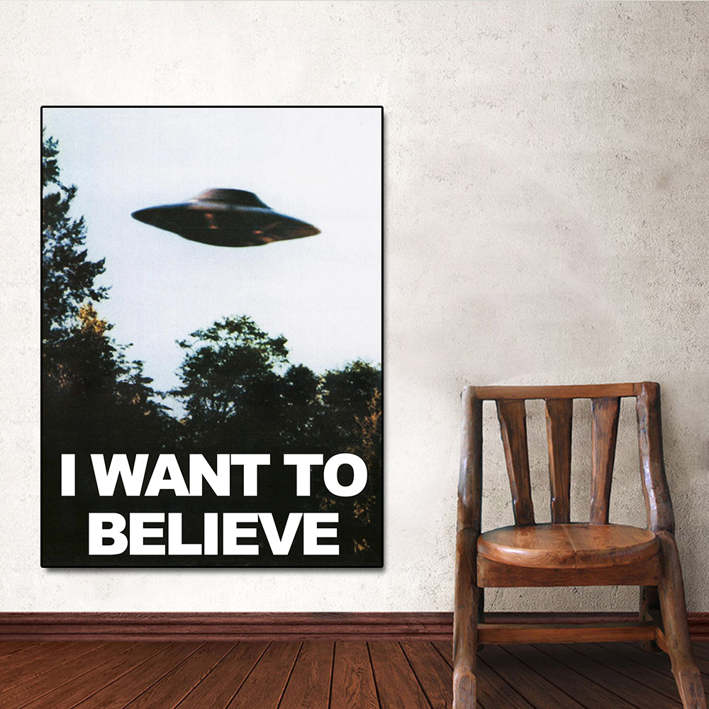 I WANT TO BELIEVE The X Files TV Series Art Silk Poster Print 13x20 24x36 inch