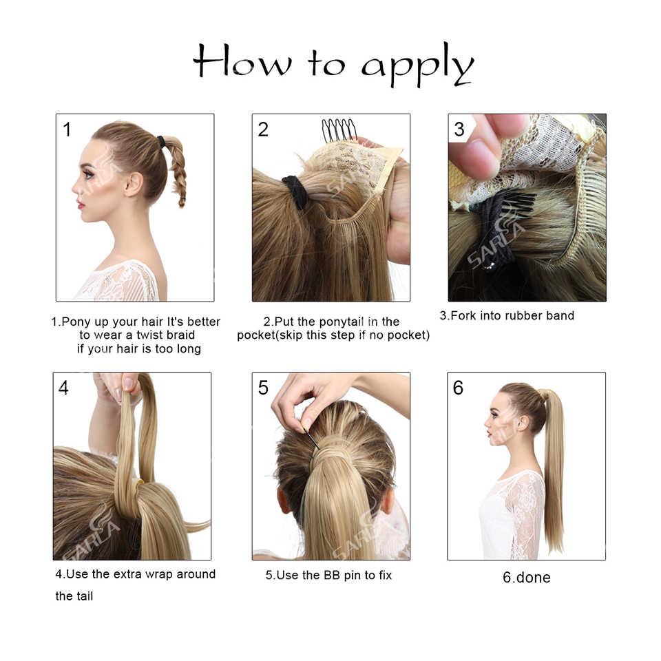 """Grampo falso da extensão do cabelo do rabo de cavalo-no envoltório sintético reto da peruca do hairpiece em torno do cabelo da cauda do pônei 24"""""""