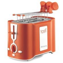 Тостер Ariete 124/11 Tosty цвет оранжевый, мощность 760 Ватт, 6 степеней прожаривания, поддон для крошек, подставка для подогрева булочек