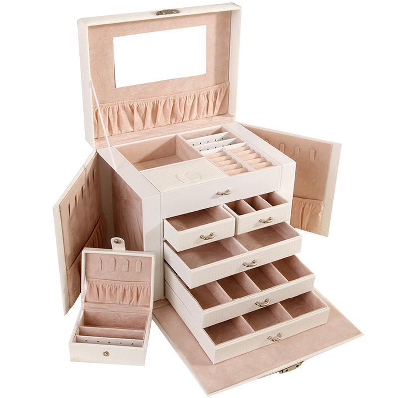 Caja de almacenamiento de joyería de gran capacidad de 5 capas de cuero multifuncional cosméticos mujeres joyería anillo collar pendiente caja de almacenamiento - 2