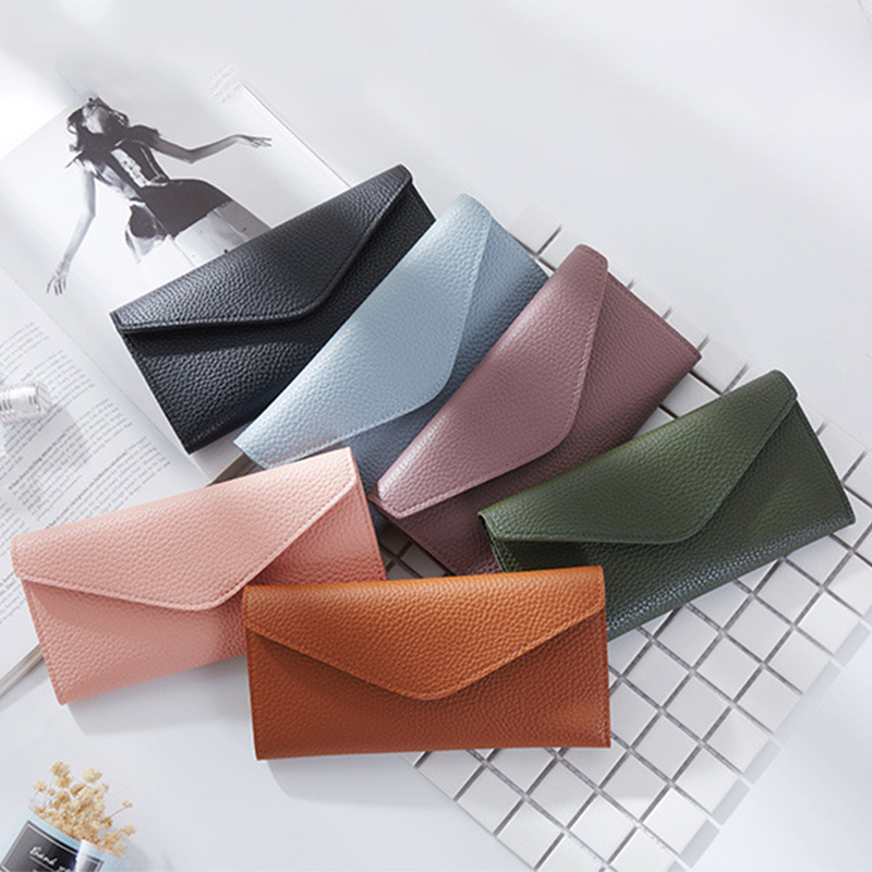 Envelope Wallet Long Style Three Folding Wallet Litchi Pattern Women Purses Coin Purse Card Holder Clutch Money Bag PU Leather