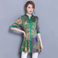 #2650 Spring Summer Long Silk Shirt Women Long Sleeve Floral Print V neck High Quality Fashion Tunic Plus Size 4XL Casual Blouse