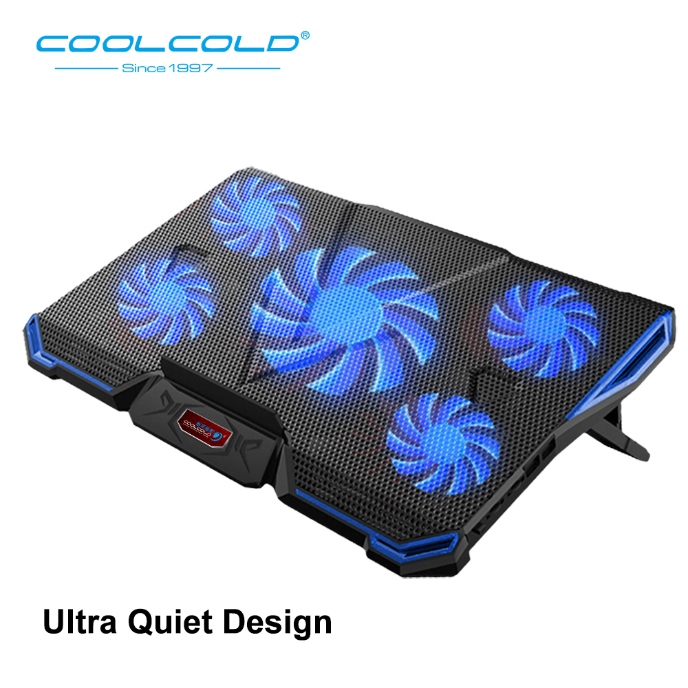 COOLCOLD Adjustable Angles Laptop Cooler Ergonomic Notebook Cooling Pad With Five Led Fan For 11'' 15.6'' 17''Notebook Tablet PC