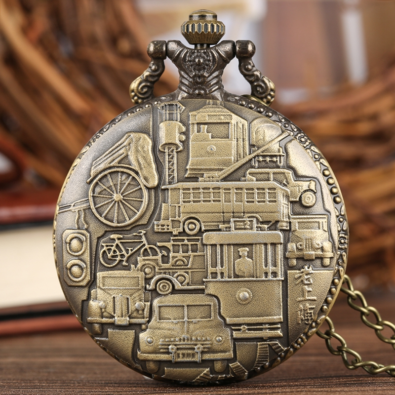 Old Shanghai Quartz Pocket Watch Bronze Ferry Car Rickshaw Pattern Analog Necklace Pendant Casual Watches Clock Male Women Gifts