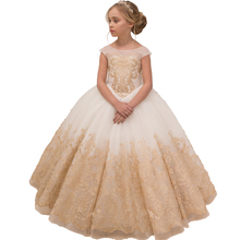 Elegant Kids Evening Ball Gowns Long Pageant Party dress for Girls First Communion Dresses Lace Flower Girl Dresses for Wedding