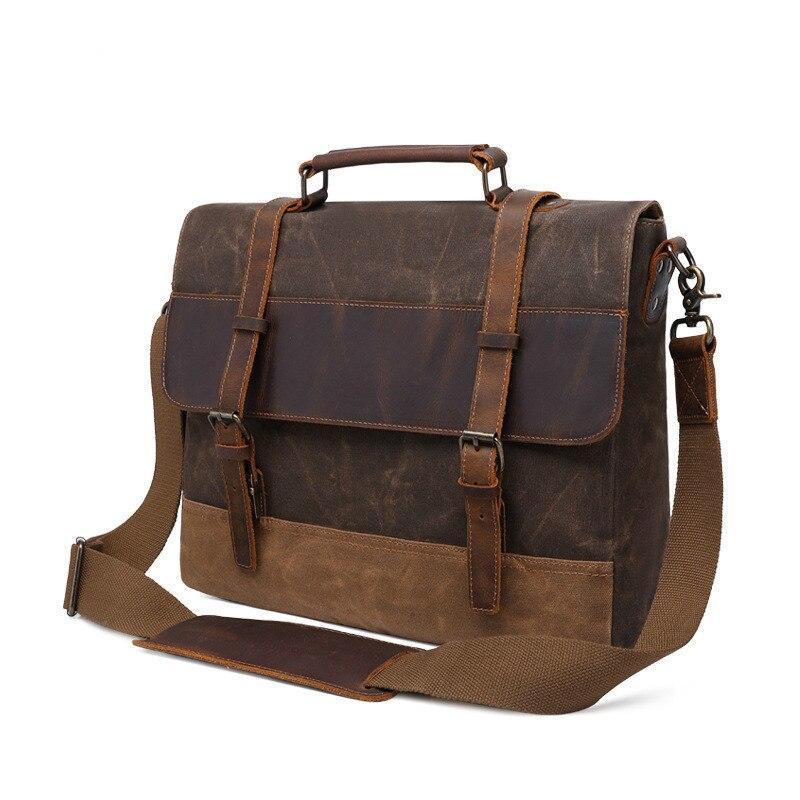 15 6 Inch Laptop Bag Crazy Horse Leather Briefcase Retro Men s Bag Crossbody Hand Bag