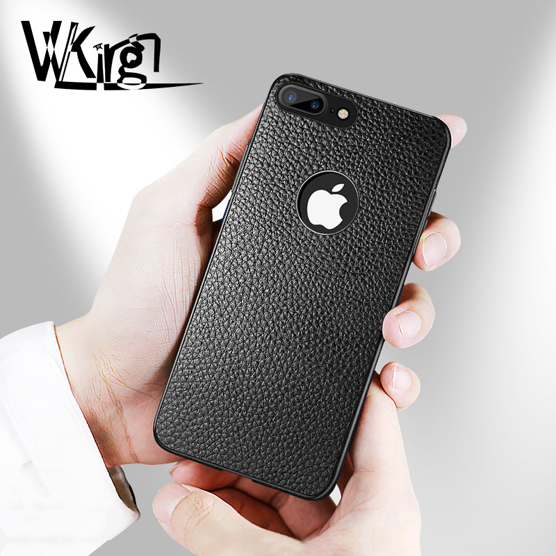 VVKing Luxury TPU Leather Case For iPhone 7 8 Plus Cover Lychee Pattern Back For iPhone 6s 6 Soft Case X XS Max XR Thin Cover
