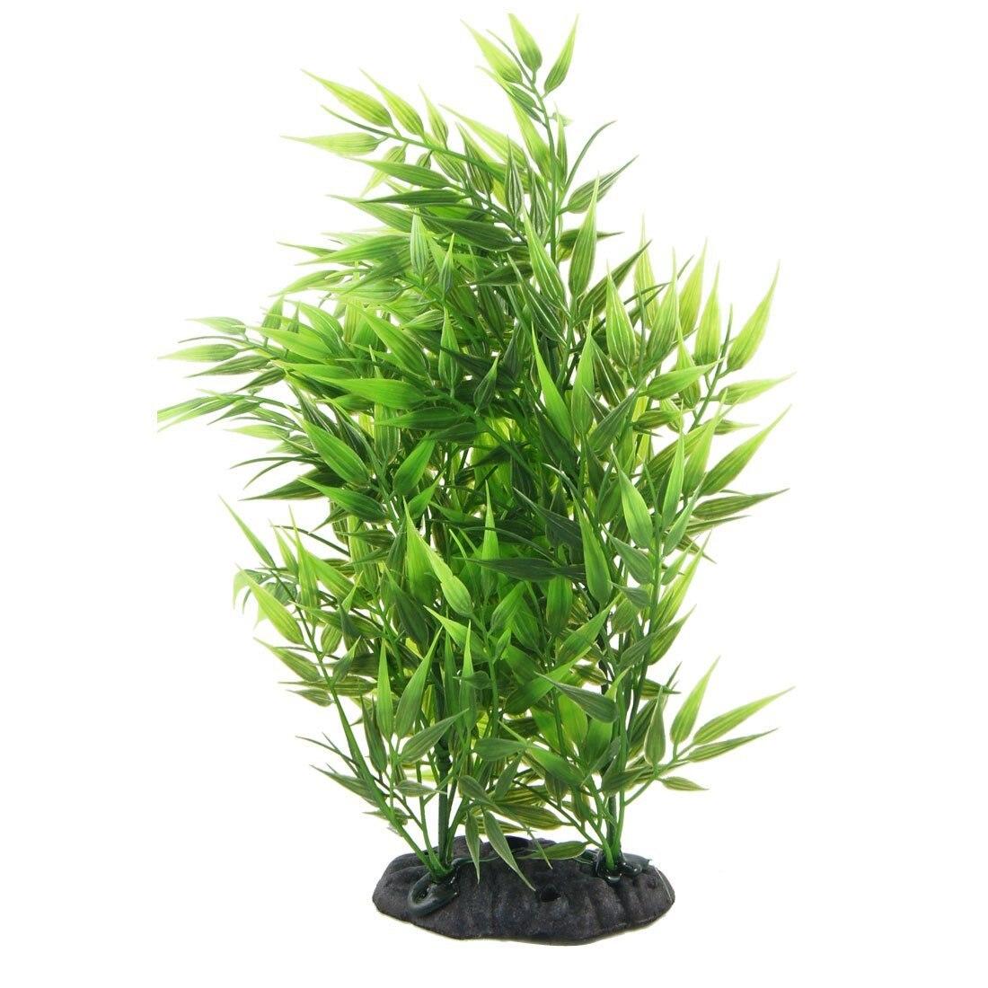 Green Bamboo Leaves Shaped Decorative Artificial Grass For Aquarium Fish Tank