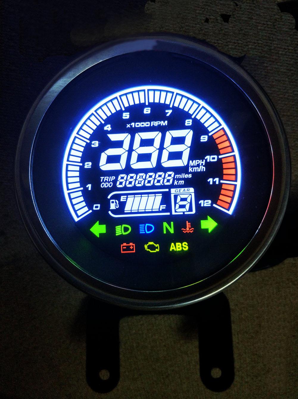 Samdo Universal 6 Gear Digital Motorcycle LED Speedometer Odometer Speed Oil Meter Water Temperature Gauge 299
