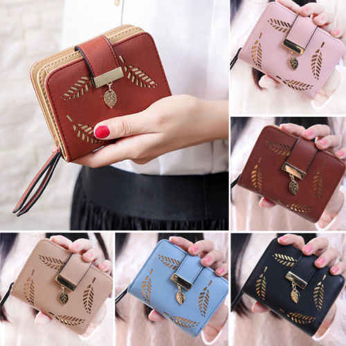 Women Pure Color Hollow Short Wallet High Quality Leather Small Clutch Purse Card Holders Girls Outdoor Leisure Joker Handbag
