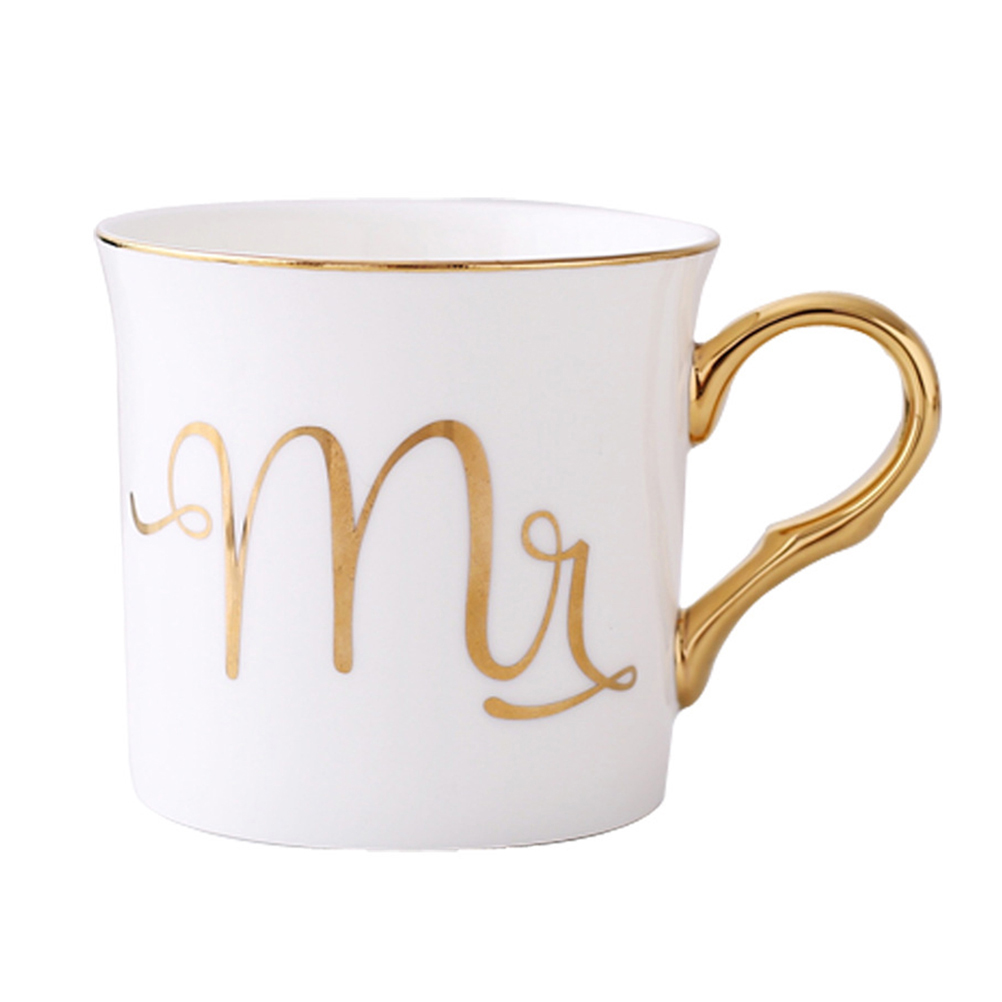 European Style Porcelain Coffee Cup Couple Golden Handle and Bone Porcelain Water Cup Tea Cup 350ML (Mr)