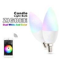 Цветная (RGB) смарт-WI-FI приложение Управление Светодиодная лампа 5 Вт пламенная лампа E14 умного дома Беспроводная лампа Цвет совместим с Alexa ...