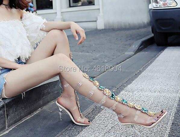 Kalmall Diamanten Kristall Botas Luxus 43 Heels Plus Sandalen High Gladiator Strappy Lange Hohe Ausschnitte Frauen Stiefel Pvc SSBqA