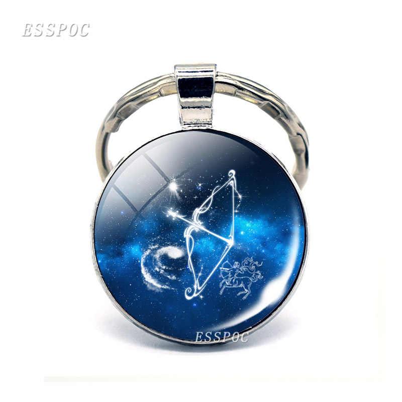 Bonito Cabochon Virgo Pisces Constelação de Áries Signos do zodíaco Chaveiros Chaveiros Chaveiros Anéis Pingente de Presente de Aniversário Das Mulheres