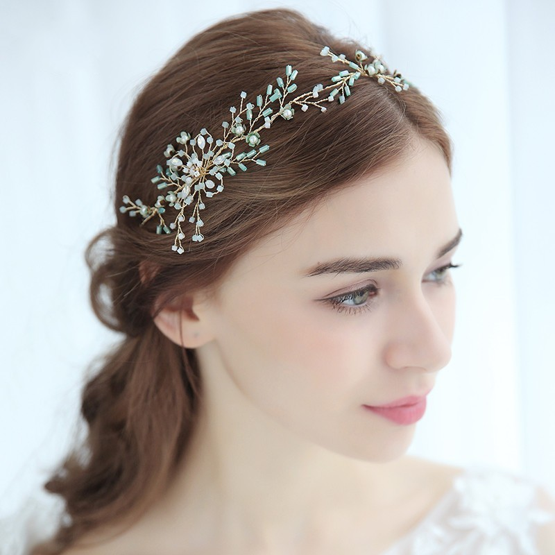 Dower Me Light Blue Crystal Wedding Tiara Hair Accessories Women Headpiece Handmade Bridal Headband Hair Crown