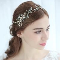Dower Me Light Blue Crystal Wedding Tiara Hair Accessories Women Headpiece Handmade Bridal Headband Hair Crown