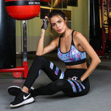 Didiopt Hot Sell Bra+leggings Women Bra And Leggings Printed Stripes Set Gym Yoga Clothing S1731