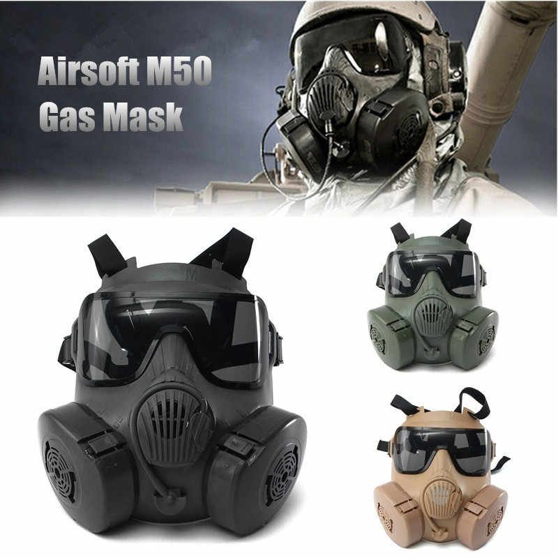 Durable Halloween Mask DC-15 M50 Full Face Skull Mask CS Gas Mask Tactical War Game cosplay Party Mask Sand/Green/Black