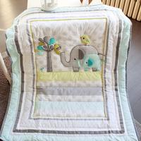 Baby Safari Elephant 5pcs Baby Bedding Set Bumpers Cotton Pattern Baby Bed Set Crib Quilt Cover Pillowcase Infant Bedding