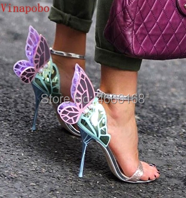 Hot Lady Ankle Wrap Angel Wings Stiletto High Heels Gladiator Sandals Women Colorful Butterfly Sandals Party