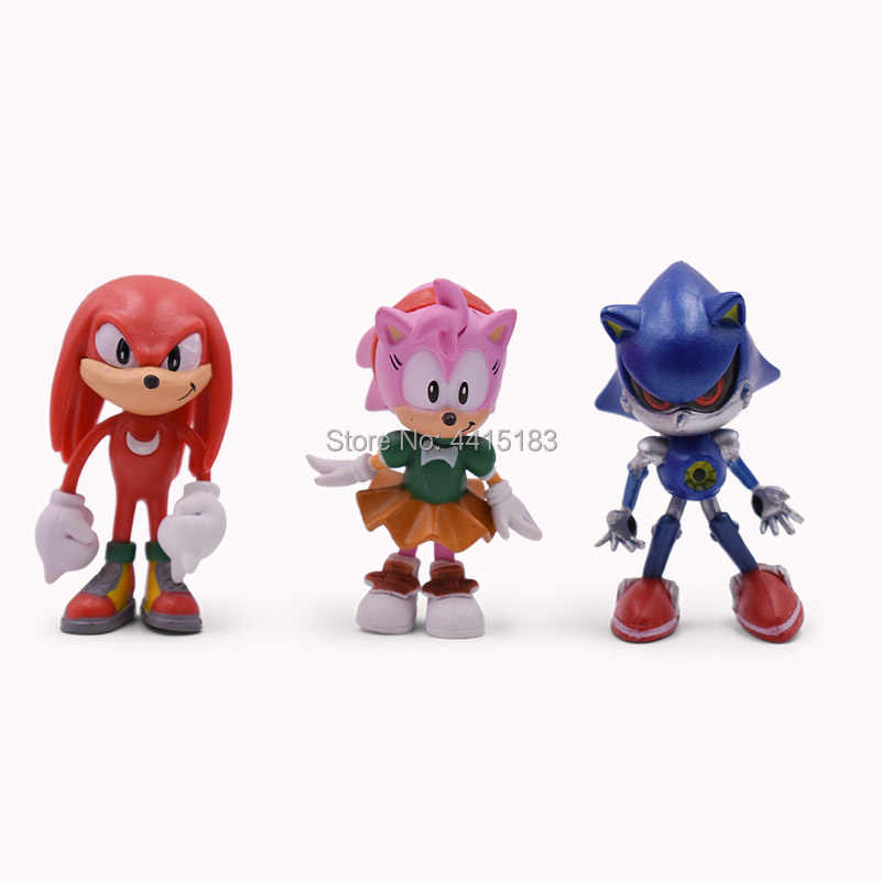 6 pcs/set Anime 2nd Generation Sonic Tails Amy Rose Rouge Knuckles PVC  Action Figure Doll Model Toy Christmas Gift For Children