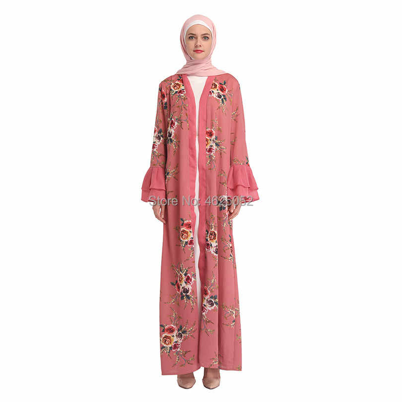 ab66e330c7 ... 2019 Adult Abaya Robe Dubai Floral Print Muslim Dress Islamic Ramadan  Caftan Clothing Eid Mubarak Moroccan ...