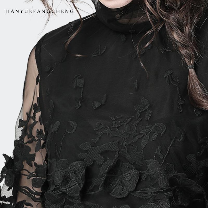 Montant Pour 2019 Grande Taille Femme Haut Décontracté Noir Printemps Chemisiers À Chemise Black Voir Dames Col Noire Transparent Longues Manches Travers Epq8p4